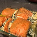 Salmon cheesy spinach rollups