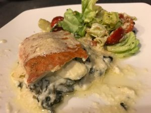 cheesy spinach stuffed salmon